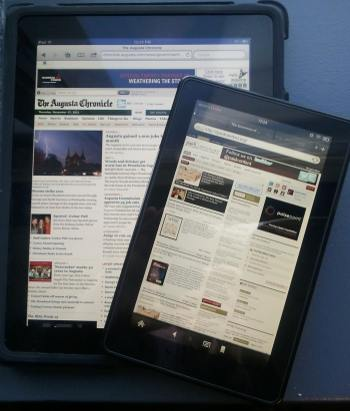 The Kindle Fire and an iPad, for size comparison.
