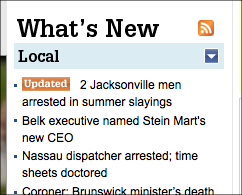 What's new widget on Jacksonville.com